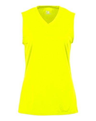 Safety Yellow Ladies Medium B-Core Ladies Performance Sports Sleeveless Wicking ()