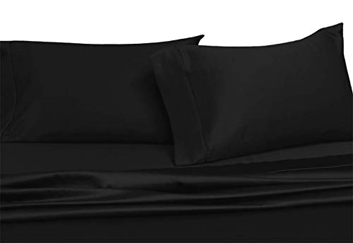 Royal Tradition Solid 600 Thread Count, 100 Percent Cotton Twin Extra Long XL 3PC Bed Sheets Set, Black, Deep Pockets