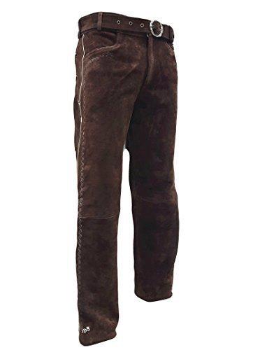 Trachten Lederhose lang inklusive Gürtel in Braun farbe Echt Leder Trachtenlederhosen Gr. 46-62 (taillenmaß stehen im beschreibung) (50, Braun)