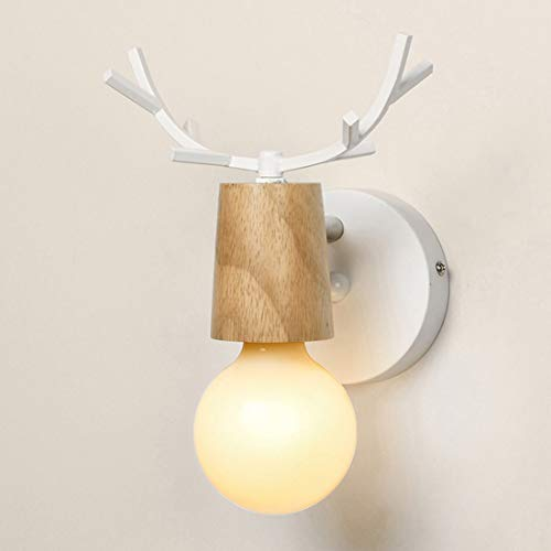 JINXUXIONGDI Loft Antique Wrought Iron Antler Wall Lamp, American Living Room Bedroom Bedside Wall Lighting Decorative Night Light, Staircase Corridor Aisle Background Wall Led Lighting Source Lamps
