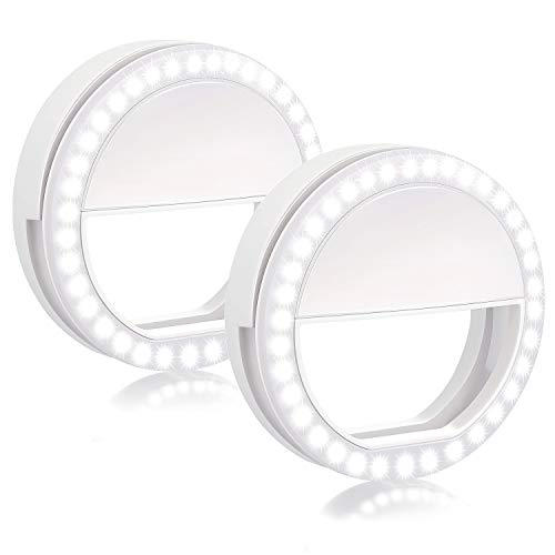 Selfie Ring Light, 2 Pack Rechargable 36 LED Natural Light Lighting Clip On Phone Tablet Laptop Photography Phone Camera Photos Video by BOIROS