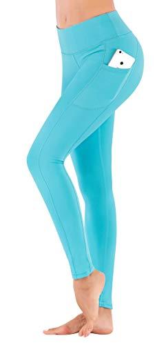 IUGA High Waist Yoga Pants Shorts with Pockets Tummy Control Workout Yoga Shorts Side Pockets (7840 Light Blue, Small) by IUGA (Image #2)