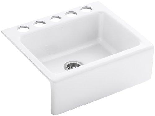 KOHLER K-6573-5U-0 Alcott Apron-Front, Undercounter Kitchen Sink, White