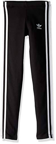 adidas Originals Girls' Big 3-Stripes Leggings, Black/White, - Girls Pant Stripe
