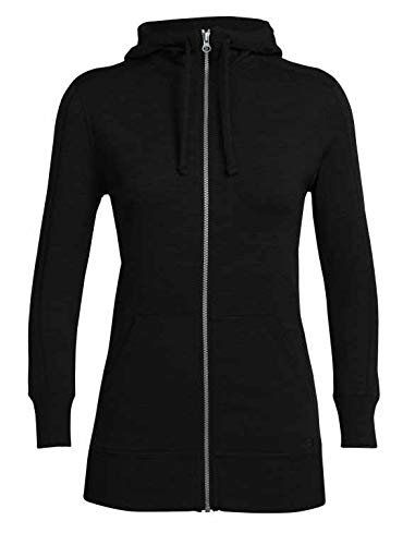 - Icebreaker Merino Women's Dia Long Sleeve Zip Hood Athletic Sweaters, Medium, Black