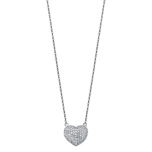 14k White Gold Micro Pave CZ Heart Pendant Necklace - 17+1