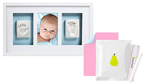 Pearhead Newborn Baby Handprint and Footprint Deluxe Photo Frame & Impression Kit, No Bake, Wall, White