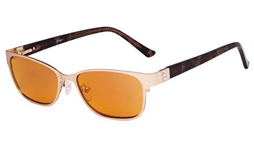 ing Glasses for Women - Relieves Digital Eye Strain, Nighttime Eyewear- Hand-Polished Acetate Temple(Gold, 0.00) ()