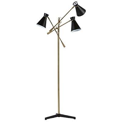 """Rivet Retro 3-Arm Floor Lamp, 69""""H, With Bulbs, Brass"""