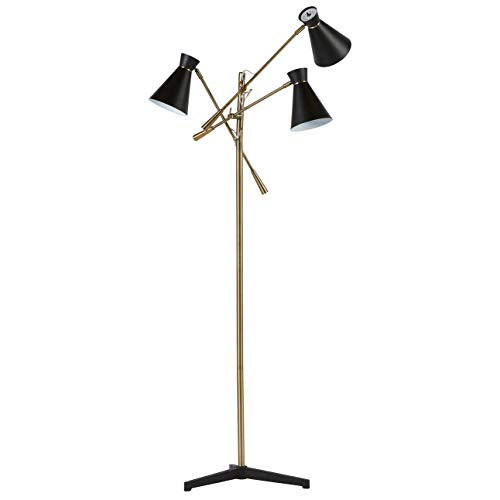 Rivet Mid Century Modern Retro 3 Arm Living Room Floor Lamp With Light Bulbs - 69 Inches, Brass with Black -