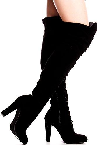 Lolli Couture Elegantie Faux Lederen Zijrits Over De Knie Platformlaarzen Black-dasia-14