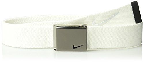 Nike Men's Nike Men's Embroidered Swoosh Web Belt, white, One Size (Cut Out Logo Buckle Belt)