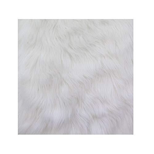FabricLA Faux Fur Artificial Fur Craft Squares - Camera Photo Floor Prop (White, 10