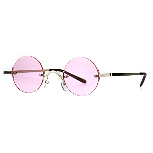Hippie Groove Round Circle Rimless Lens Color Sunglasses Gold - Guys Sunglasses Circle For