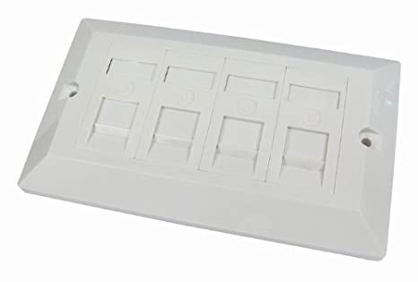 rhinocables® Ethernet Faceplate Single & Double Socket RJ45 Network Face Wall Plate Various CAT5e CAT6 CAT6A Gigabit 1 2 4 Port (2 Port, CAT6) na
