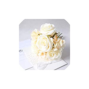 Fashion-LN Wedding Bouquet Roses Peonies Hydrangea Silk Flower Pink White Bridal Bridesmaid Bouquet for Wedding Accessories,Champagne Bouquets 7