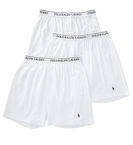 Polo Ralph Lauren Men's Classic Fit w/Wicking 3-Pack Knit Boxers White/Cruise Navy Pony Print X-Large