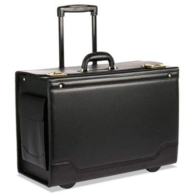 (STEBCO 341626BLK Wheeled Catalog Case, Leather-Trimmed Tufide, 21-3/4 x 15-1/2 x 9-3/4 Inches, Black)