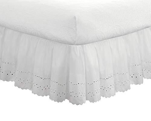 Fresh Ideas Eyelet Ruffled Bedskirt - Ruffled Bedding with Gathered Styling - 18