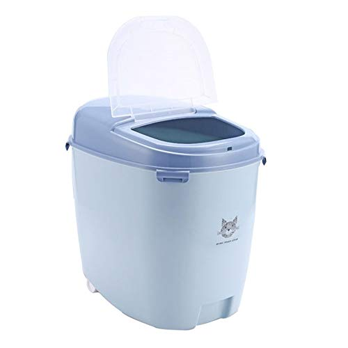 bluee-S Cat and Dog Food Barrel Pet Storage Grain Barrel Sealing Barrel Cat Food Box Storage Barrel Cans of Silicone Storage Grain Tank (color   bluee-S)