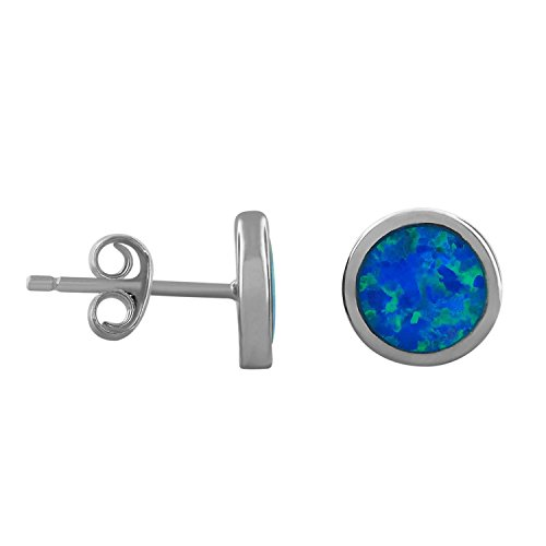 Sterling Silver Synthetic Blue Opal Circle Stud Earrings 8mm