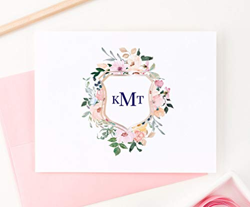 Crest Note Card - Floral Monogram Crest Stationery, Your Choice of Colors, Set of 10 folded note cards and envelopes