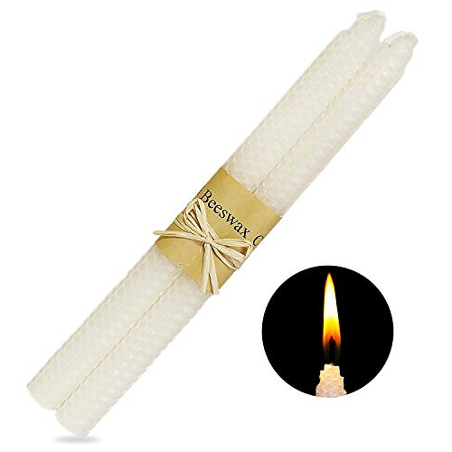 YYCH 100% White Pure Beeswax Candles, Set of (2) 10x3/4 Hand Made Honeycomb tapers