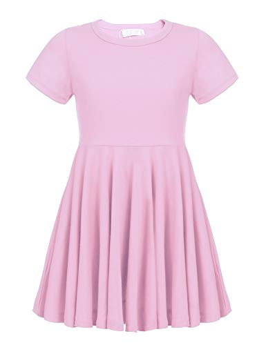 Arshiner Little Girls Short Sleeve A Line Casual Skater Dress Pink 150(Age for 12-13Y) ()