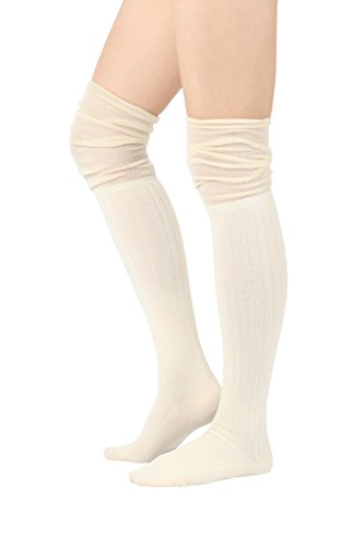 STYLEGAGA Fall Winter Slouch Top Over The Knee High Knit Boot Socks (One Size : XS to M, Slouch Top_Rib (Rib Boot Socks)