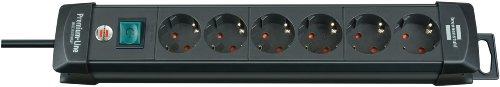 Brennenstuhl Premium-Line Steckdosenleiste 6-fach schwarz mit Schalter, 1951160100