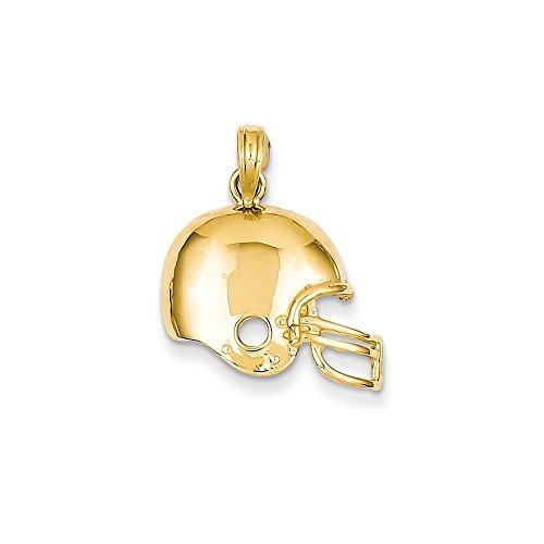Solid 14k Yellow Gold Football Helmet Pendant (22mm x 17mm)
