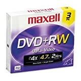 - DVD+RW Discs, 4.7GB, 4x, w/Jewel Cases, Silver, 3/Pack