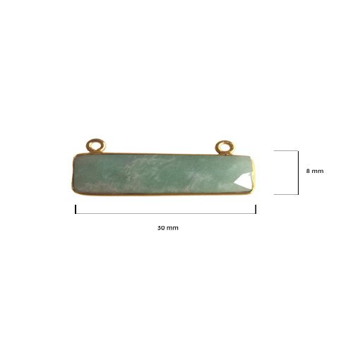 - 2 Pcs Amazonite Rectangle Beads 8X30mm 24K gold vermeil by BESTINBEADS, Amazonite Hydro Quartz Rectangle Pendant Bezel Gemstone Connectors over 925 sterling silver bezel jewelry making supplies