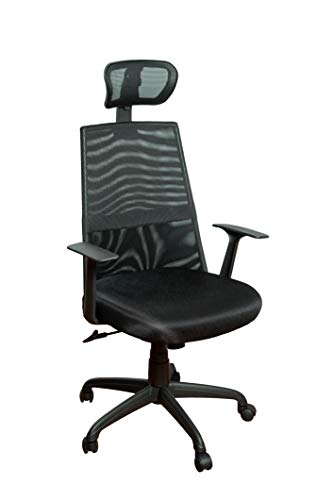 Canary Products Meshed Ergonomic Height Adjustable Office Chair w/Headrest, 50.6 Inch Max, Black