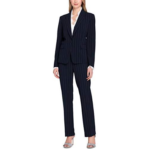 (Tahari by Arthur S. Levine Women's Petite 1 Button Peak Lapel Pinstriped LACE Trim Pant Suit, Navy/White, 0P)