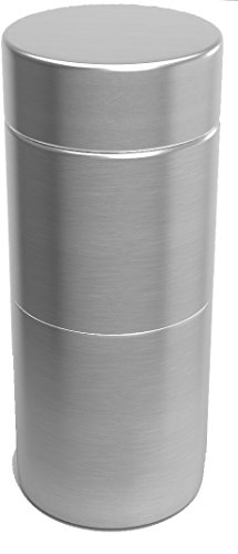 Herb Stash Jar 1 Solid Aluminum Airtight Smell Proof Containers #1 Best Way To Preserve Herbs & Spices (Perfect Single, Silver) (Tobacco Holder)
