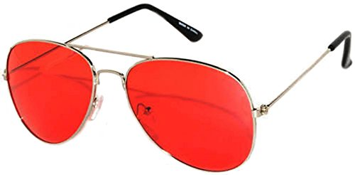 Colored Metal Frame Aviator Style Sunglasses Colorful Lens - Aviator Colorful Sunglasses
