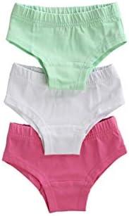 ORGANICKID Girls Organic Cotton Underwear GOTS Certified Kids Toddler Briefs Pack of 3
