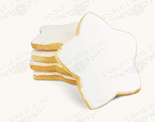 Printable White, 8 inch Star Shaped Gourmet Hand-Made Cookie