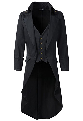 Mens Gothic Tailcoat Jacket Black Steampunk VTG Victorian High Collar Coat (M, Black/brassy button) (Steampunk Clothing Men)