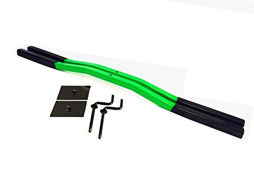 Snowmobile Trailer Ski Tie Down Hold Down Bars Pair Green with 2 Cranks and Plates