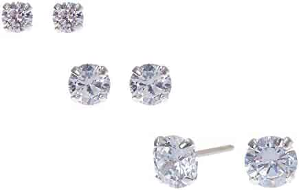 a383f04be Claire's Girl's Sterling Silver Cubic Zirconia Graduated Round Stud Earrings  - 3 Pack