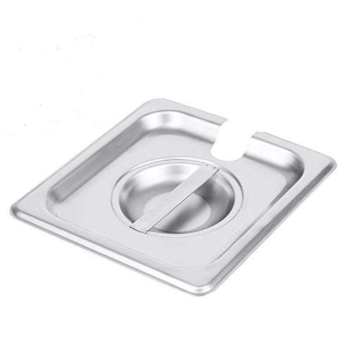 (1/6 Size Stainless Steel Slotted Steam Table Pan Cover, Pan Lids, Non-Stick Surface, Lid for 1/6 Size Steam Pans with Handle)