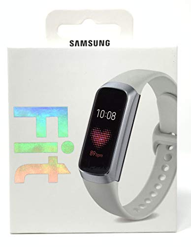 Samsung Galaxy Fit 2019, Smartwatch Fitness Band, Stress & Sleep Tracker, AMOLED Display, 5ATM Water Resistance, MIL-STD-810G, Bluetooth Active SM-R370 - International Version (Silver) (Silver) (Gear Fit Watch)