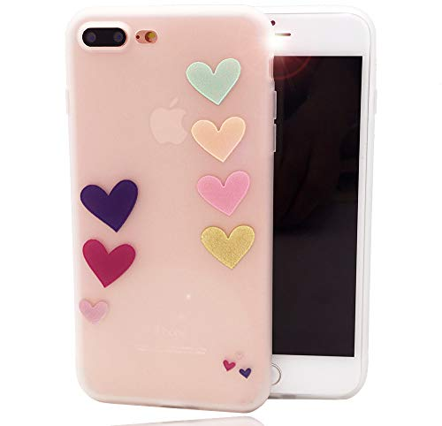 iPhone 8 Plus 7 Plus Case,Cute Loving Heart Bunch Design Matte Dropproof TPU Soft Cover for Girls Kids Funny Colorful Balloon Pattern Clear Bumper Skin Back Case for iPhone 7 Plus iPhone 8 Plus