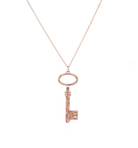 LPON Key Pendant Necklace For Women Girls Charm Rhinestone Key To My Heart Pendant Necklace Jewelry (rose (Rhinestone Rose Pendant)