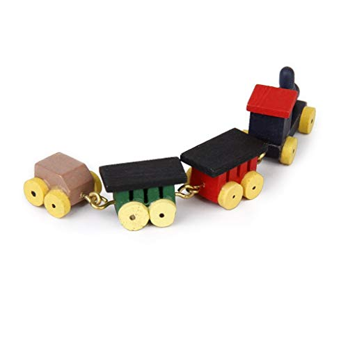 SODIAL(R) 1/12 Doll house Miniature Wooden Carriages and Train Toy Set