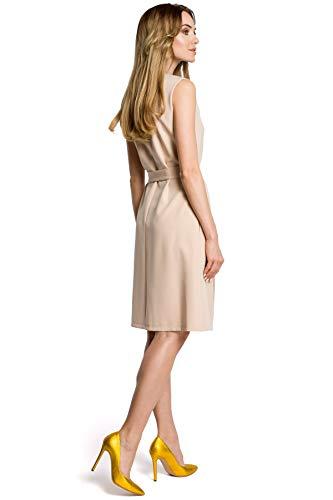 Mitte der Ärmelloses Falte Kleid Beige und Clea in mit Gürtel wqFxYx4O