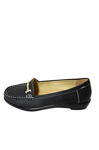 Mocassino Donna In Morbida Ecopelle Traforata Mocassino Slip On Shoes (vivi-02) Nero