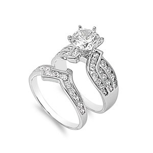 Amazon.com: Rhodium Plated Sterling Silver Nesting Wedding